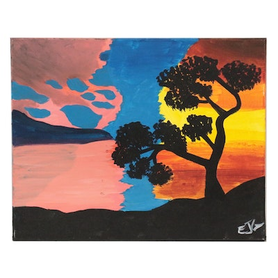 Silhouetted Landscape Acrylic Painting, 21st Century