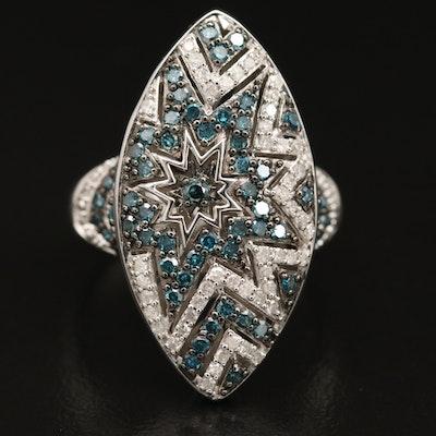 Sterling Silver 1.00 CTW Diamond Starburst Ring
