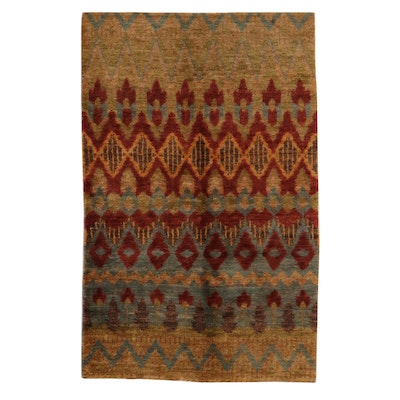 4'11 x 8' Hand-Knotted Indo-Turkish Oushak Rug, 2010s