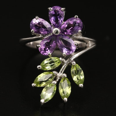 Eva LaRue Sterling Amethyst and Peridot Floral and Foliate Ring