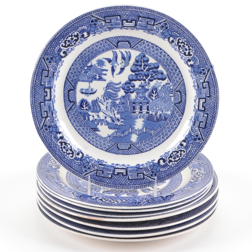 """Woods & Sons """"Willow"""" and Other Blue Willow Ceramic Plates."""