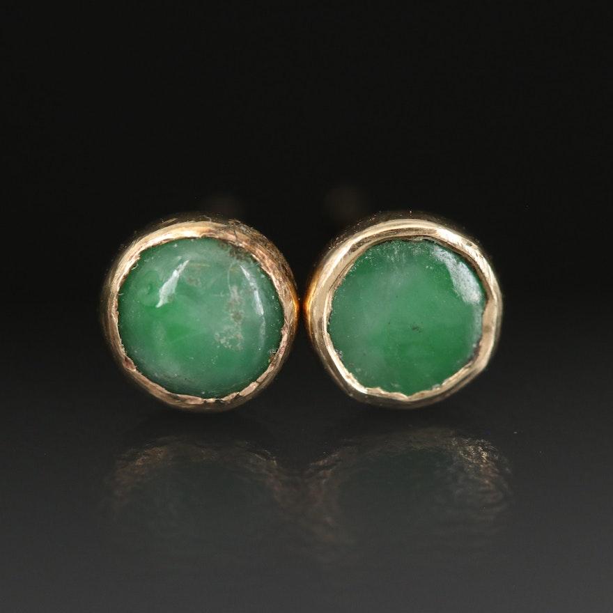 14K Bezel Set Jadeite Stud Earrings