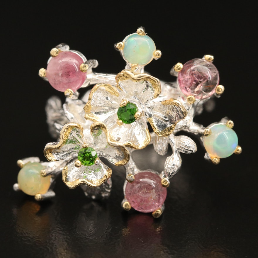 Sterling Silver Opal, Diopside and Tourmaline Floral Ring