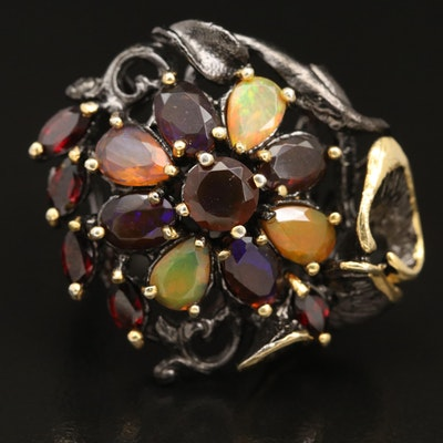 Sterling Silver Opal and Garnet Biomorphic Ring