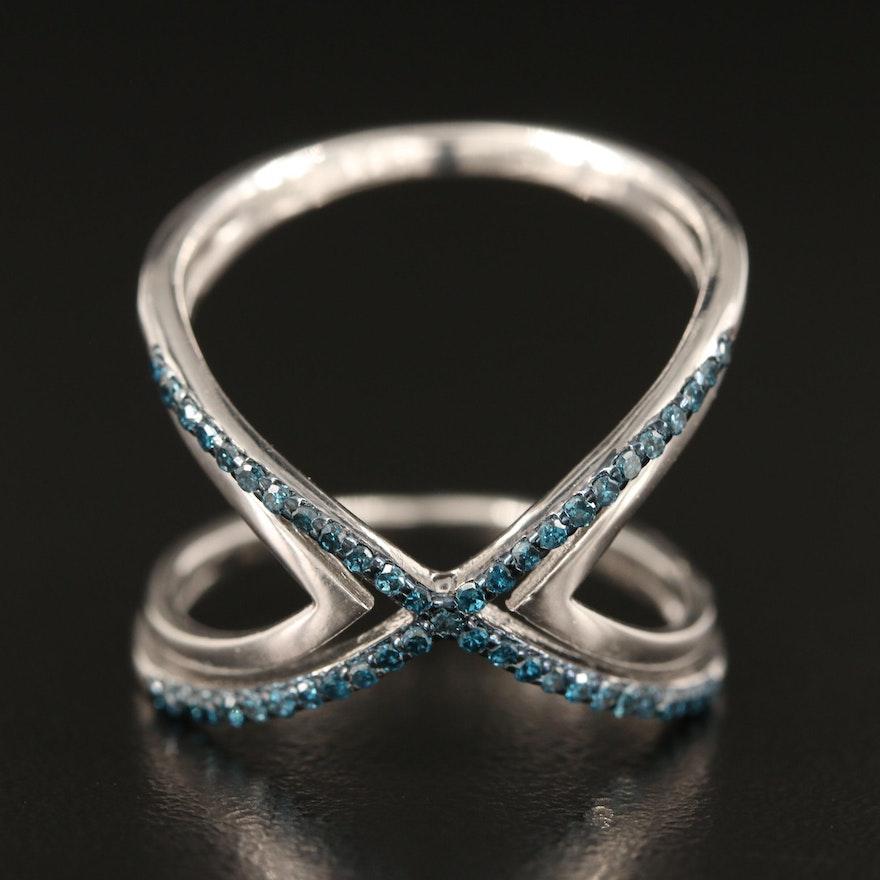 Sterling Silver Pavé Fancy Blue Diamond Criss Cross Ring