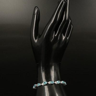 Sterling Apatite and Diamond Line Bracelet
