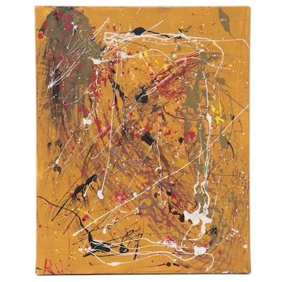 Abstract Expressionist Style Acrylic Painting, Late 20th Century