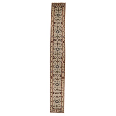 2'7 x 19'10 Hand-Knotted Indo-Turkish Oushak Carpet Runner, 2010s