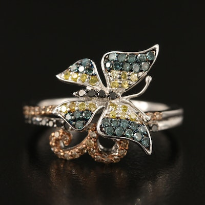 Sterling Silver Diamond Butterfly Ring