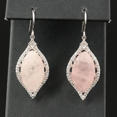 Eva LaRue Sterling Rose Quartz and White Zircon Earrings