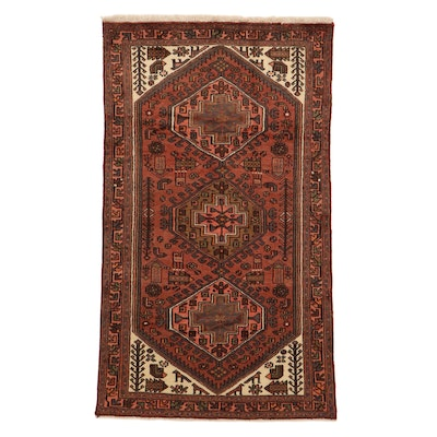 4' x 7'1 Hand-Knotted Persian Malayer Pictorial Rug, 1980s