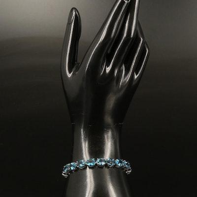 Sterling London Blue Topaz Line Bracelet