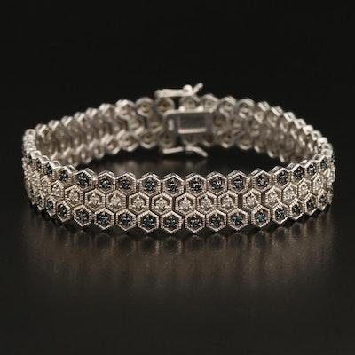 Sterling 1.08 CTW Diamond Three Row Honeycomb Bracelet