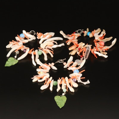"""Space Mermaid """"Water Music"""" Bracelets Featuring Mother of Pearl and Coral"""