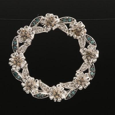 Sterling Silver Diamond Floral Pendant