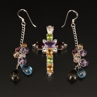 Sterling Silver Earrings and Cross Pendant with Amethyst, Peridot and Citrine