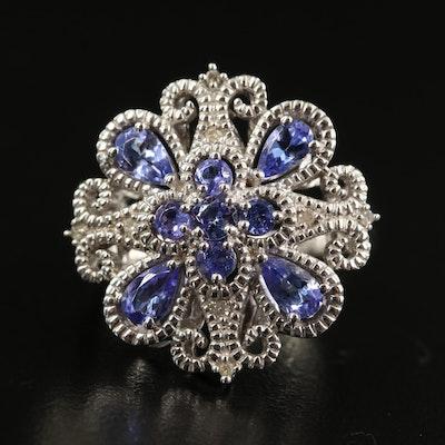 Sterling Tanzanite and Diamond Quatrefoil Openwork Ring
