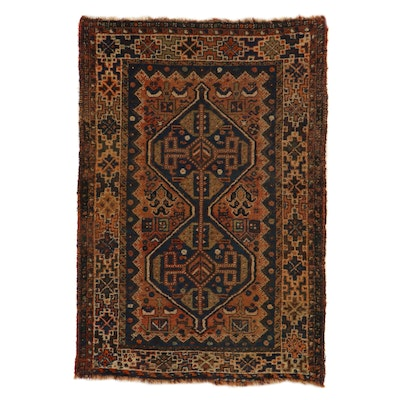 3'8 x 5'5 Hand-Knotted Persian Shiraz Rug, 1920s