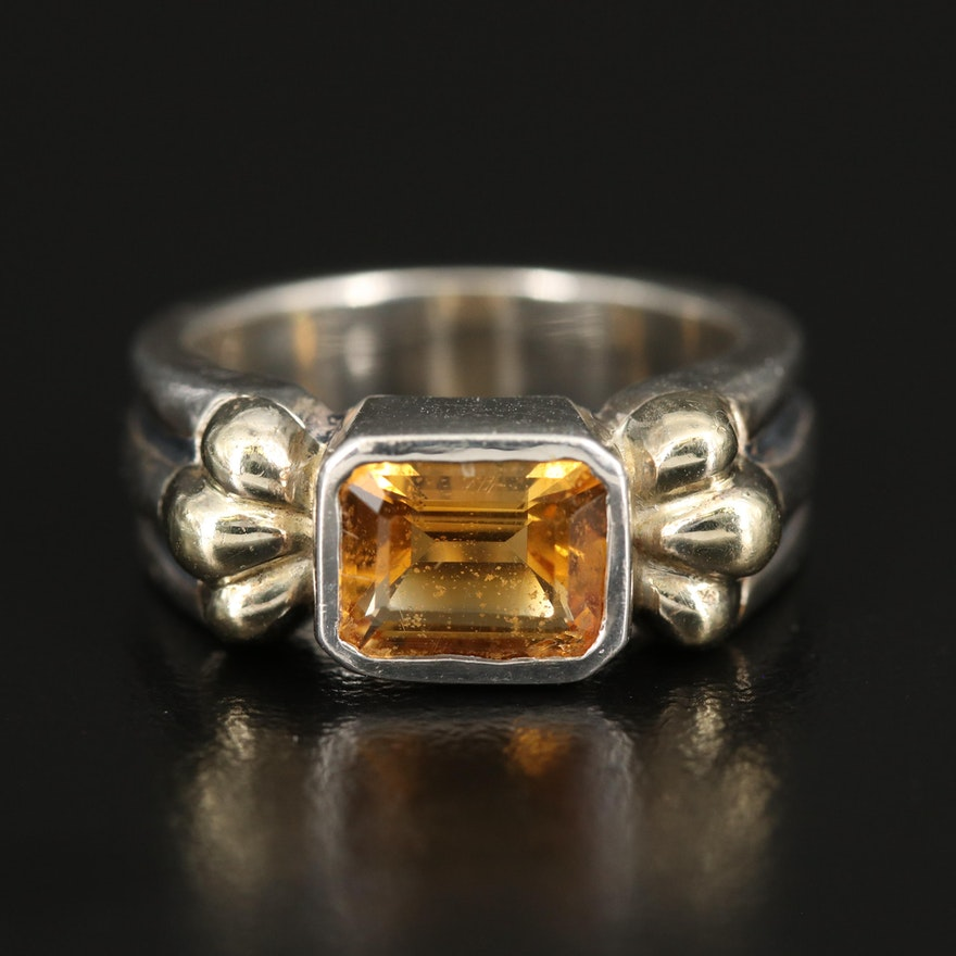 Caviar by Lagos Sterling Citrine Ring with 18K Accents