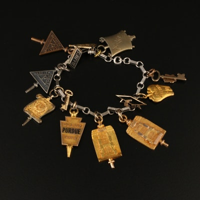 Vintage Charm Bracelet Featuring Purdue and Collegiate Charms