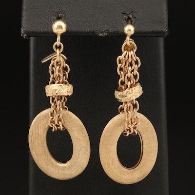 Italian 14K Gathered Drop Chain Earrings