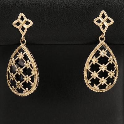 14K Black Onyx Teardrop Dangle Earrings