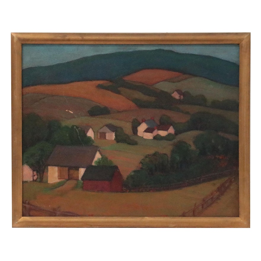 Landscape Oil Painting of Rolling Hills, Late 20th Century