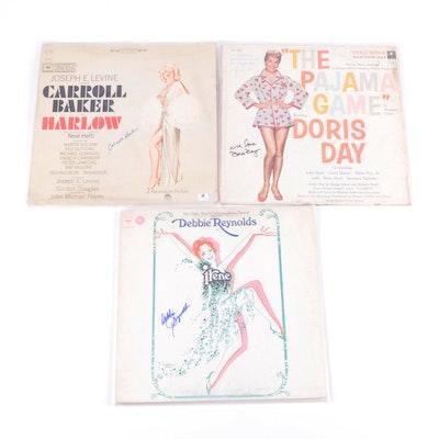Debbie Reynolds, Doris Day, Carroll Baker Signed Soundtrack LP Records, COAs