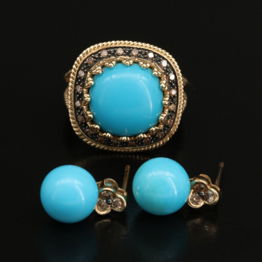 14K Turquoise and Diamond Ring and Earrings