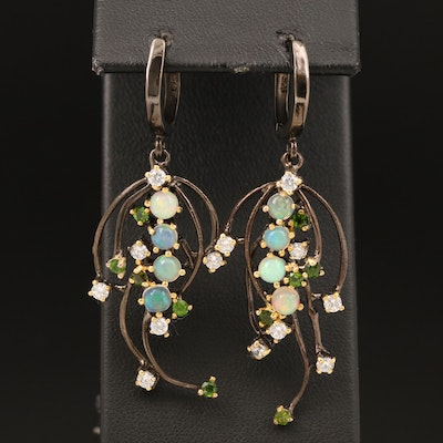 Sterling Silver Drop Earrings with Opal, Cubic Zirconia, and Diopside