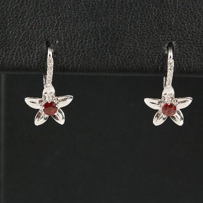 14K Garnet and Diamond Floral Earrings