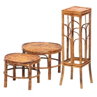 Two Chinese Tortoiseshell-Stained Bamboo Graduated Stands Plus Pedestal