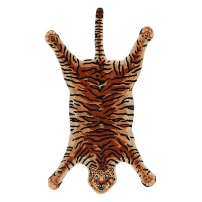 3' x 5'3 Hand-Tufted Indian Tiger Shaped Rug, 2010s