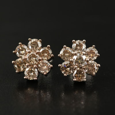 Sterling 2.05 CTW Diamond Floral Button Earrings
