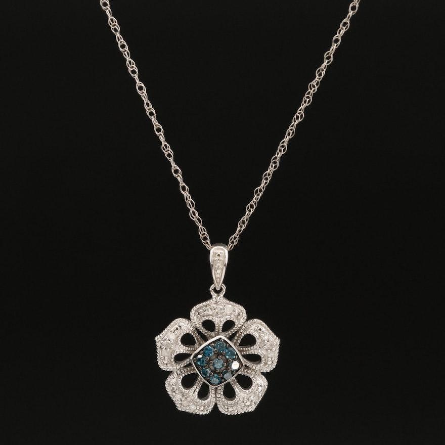 Sterling Diamond Floral Pendant Necklace