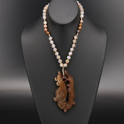 """Gold Filled Serpentine and Agate """"Year of the Rat"""" Pendant Necklace"""