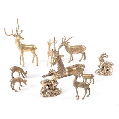 Brass Deer and Elk Figurines