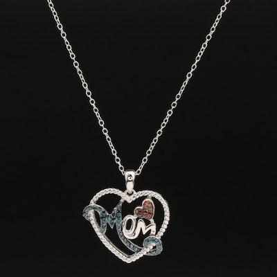 "Sterling Diamond ""Mom"" Heart Pendant"