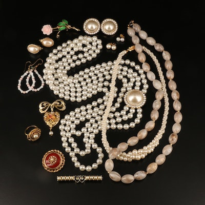 Necklaces, Brooches, Earrings, Locket, Ring Including Faux Pearl and Enamel