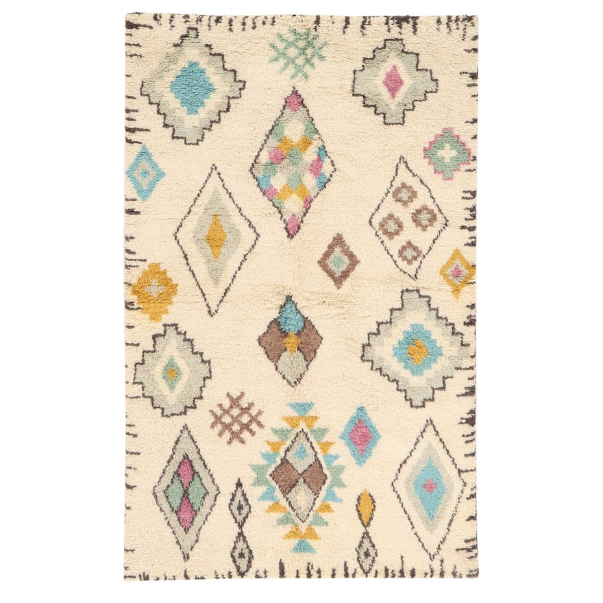 5' x 7'11 Hand-Knotted Indo-Moroccan Shag Rug, 2010s