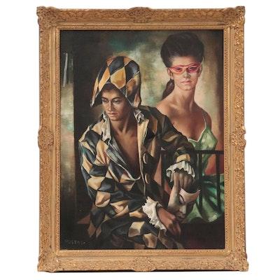 Domingo Huetos Oil Painting of Harlequins