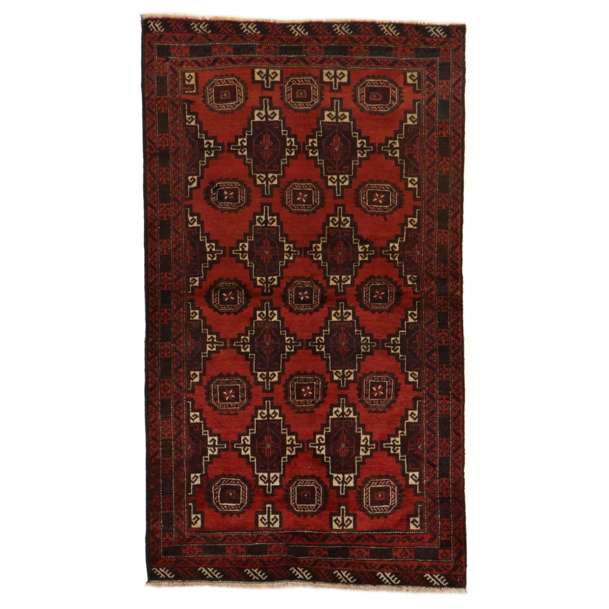 3'8 x 6'7 Hand-Knotted Persian Turkmen Rug, 1970s