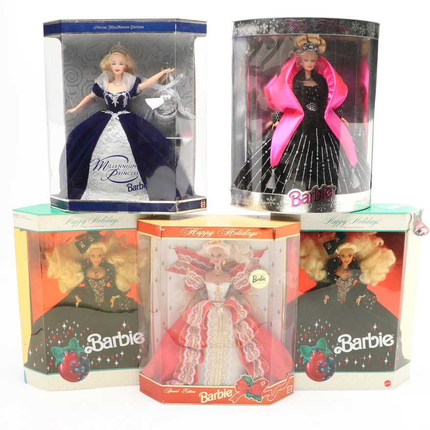 "Mattel Barbie ""Happy Holidays"" and ""Millennium Princess"" Dolls"