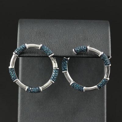 Sterling 1.00 CTW Diamond Hoop Earrings