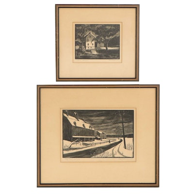 """Fred A. Vollman Wood Engravings """"Tailrace"""" and """"Valley Farm,"""" 1948"""