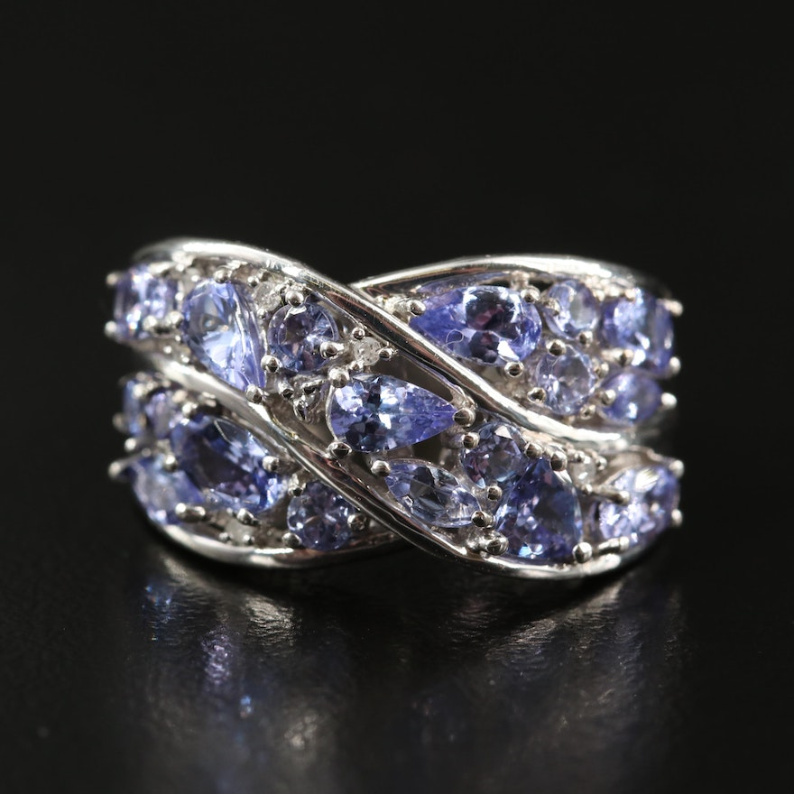 Sterling Tanzanite and Diamond Crossover Ring