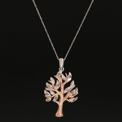 Sterling Silver Diamond Tree Pendant on 14K Chain Necklace