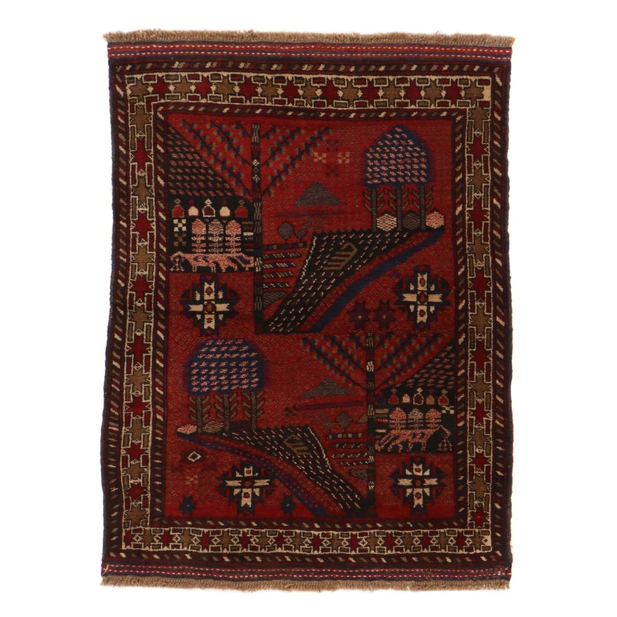 3'2 x 4'5 Hand-Knotted Afghan Baluch Pictorial Rug, 2000s