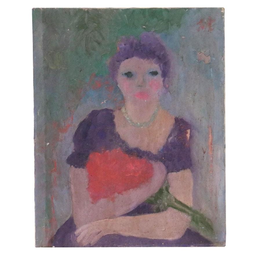 "Laura Allgood Acrylic Painting ""Misty,"" 1996"