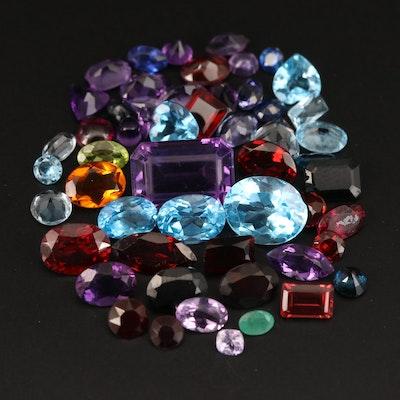 Loose 34.21 CTW Garnet, Topaz, Amethyst and Additional Gemstones
